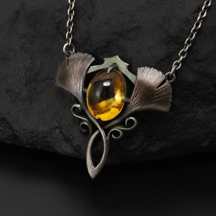 Two ginkgo leaf oxidized silver Art Nouveau necklace with a citrine by (C) KAZNESQ