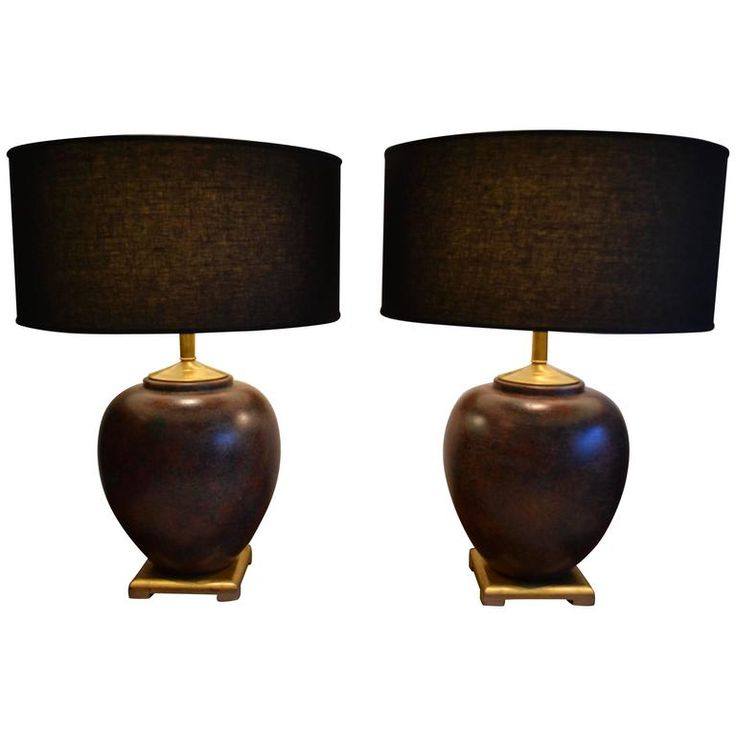 Pair of huge asian ceramic ginger jar table lamps in the style of james mont