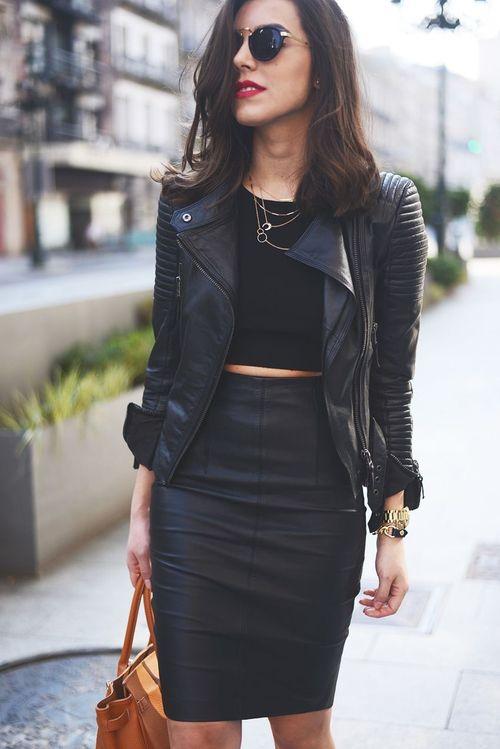 Black Leather Pencil Skirt