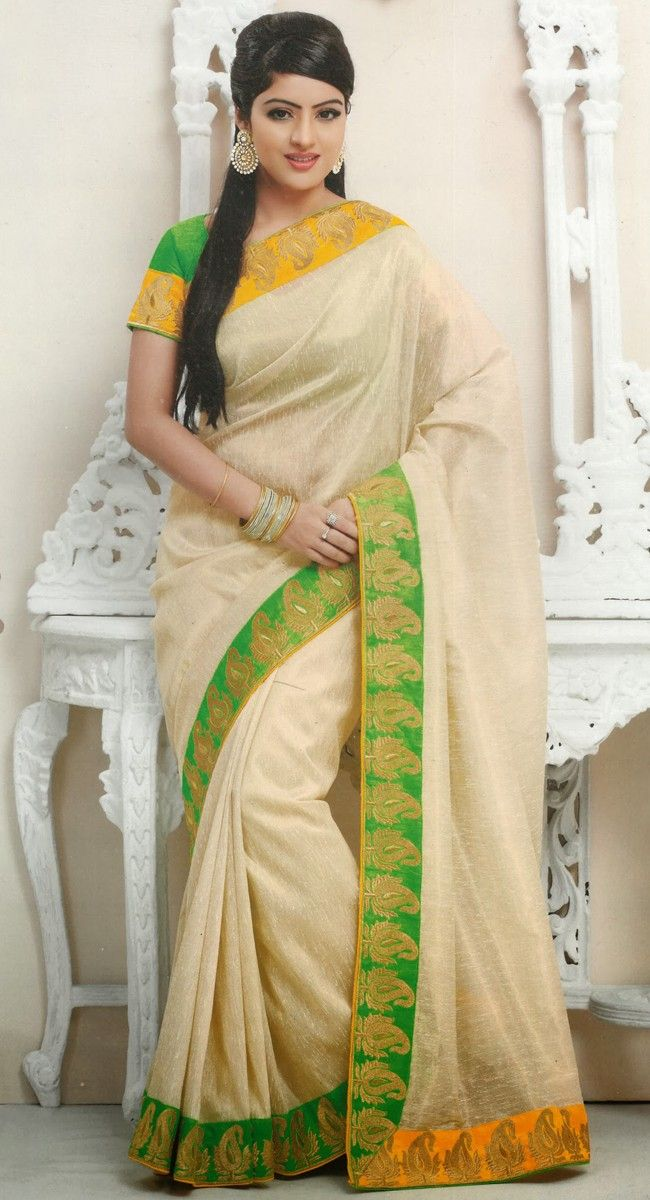 Chic Buttercream Embroidered #Saree