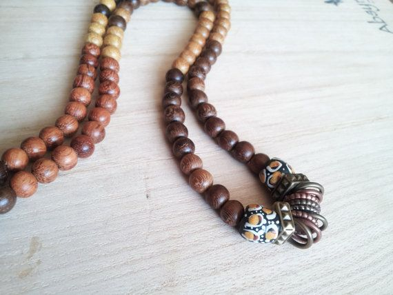 s wood bead necklace trade bead necklace the timera by