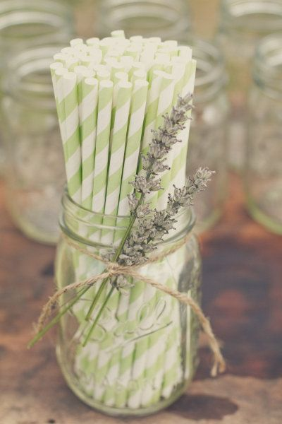Love the straws in the mason jar! Do it three times down the center of dining table and make a statement!