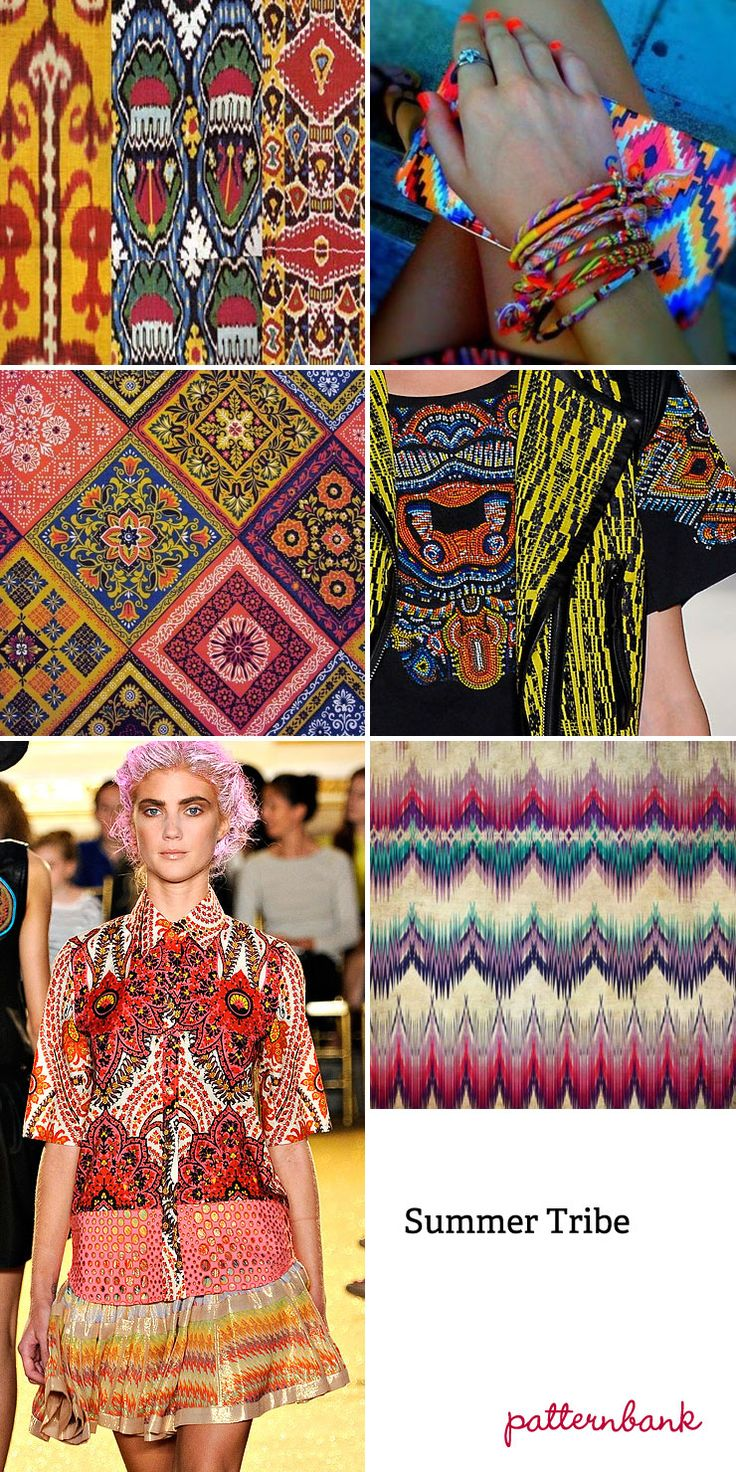 Spring/Summer 2013 Summer Tribe-Abstracted Ikat Designs – Simplified Ikat – Optical Patterns – Vibrant Colour Enhanced Ethnic Compositions – Mixed Stripes And Pattern Forms – Blurred Felt-tip Pen Visuals – Multi-coloured Traditional Ikat Motifs