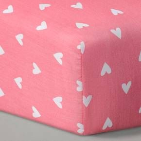 Circo™ Woven Fitted Crib Sheet - Coral Hearts : Target