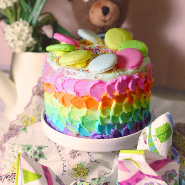 Mini rainbow cake!