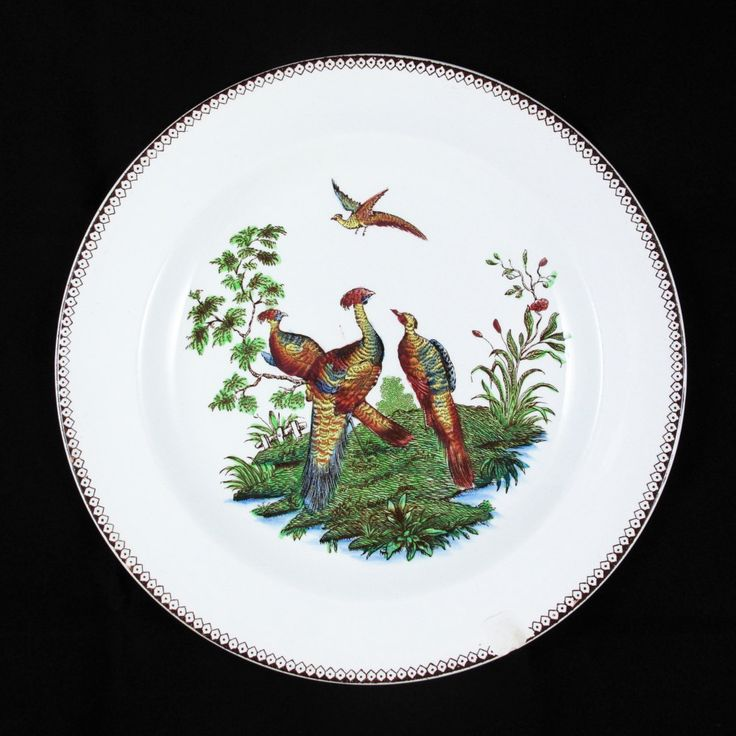 Vintage Wedgwood Etruria England Salad Plate with Liverpool Birds Multi-color Pattern  and Brown Trim, 1982 by ArtVintageCraftShop on Etsy