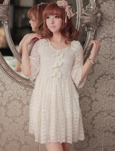Women Sweet Style Bowknot Trim Elbow-Sleeve Lace Dress - Item 695377 at Eastclothes.com