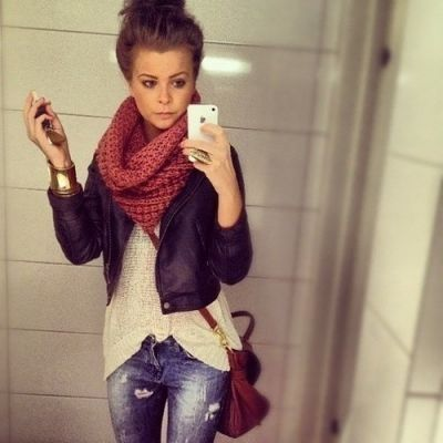 from the top: top knot bun, chunky infinity, loose sweater, fitted jacket, metallic accessories, crossbody bag.