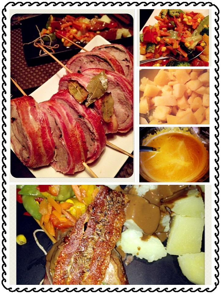 Porkroast wraped in bacon, with a sidedish of potatos, veggies and redwinesouce ala Keld
