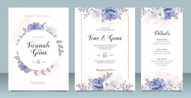 Elegant Wedding Invitation Card Template With Blue Peonies Watercolor Wedding Invitation Card Template Wedding Invitation Cards Elegant Wedding Invitation Card