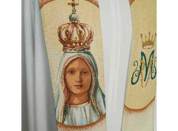 Estola mariana con Nuestra Señora de Fátima bordada. Estola de la Virgen de Fátima - Estolas para curas con bordados marianos - Estola litúrgica mariana con la Virgen de Fátima bordada. Ornamento para uso sacerdotal realizada en poliéster, viscosa y lurex. Estola para cura con 15 cm. por 278 cm. aprox. (2/4). #EstolaFatima #VirgendeFátima #Fatima #VirgendeFatimaenBrabander #OurLadyofFatima #FatimaStole