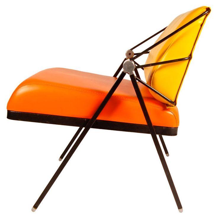 Orange and Yellow Lounge Chair by Gaston Rinaldi