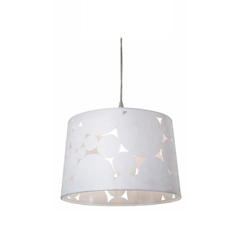 Hilo one light pendant with white drum lamp shade 45