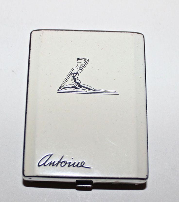 ANTOINE vintage art deco powder holder compact Hollywood Regency