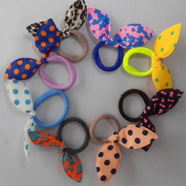 5pcs Headwear Rabbit Ears Polka Dots Elastic Hair Bands Rubber Accessories Hair Pins Accessories Headband Fast Bun Gum For Hair