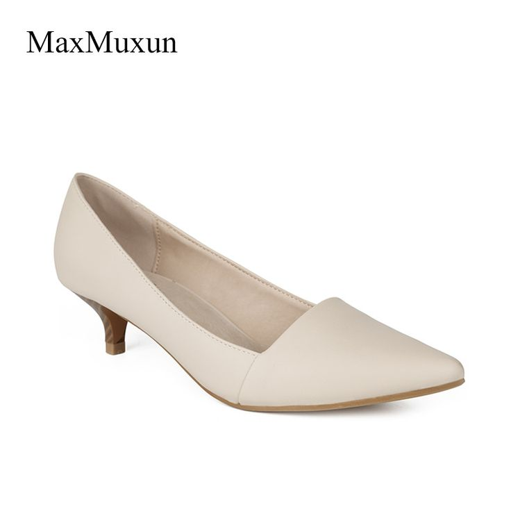 MaxMuxun Women Shoes Smart Formal Classic Mid Steaked Kitten Heel Slip On Dress Pumps Office Ladies White Red Black Court Shoes