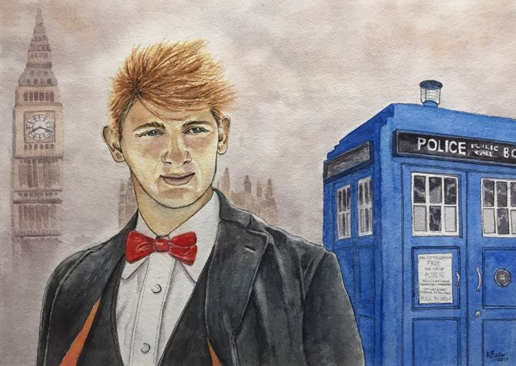"""""""The 15th Doctor"""" (commission). Pen and watercolour on paper, 14x10"""". #portrait #watercolor #watercolour #penandwash #doctorwho #tardis"""