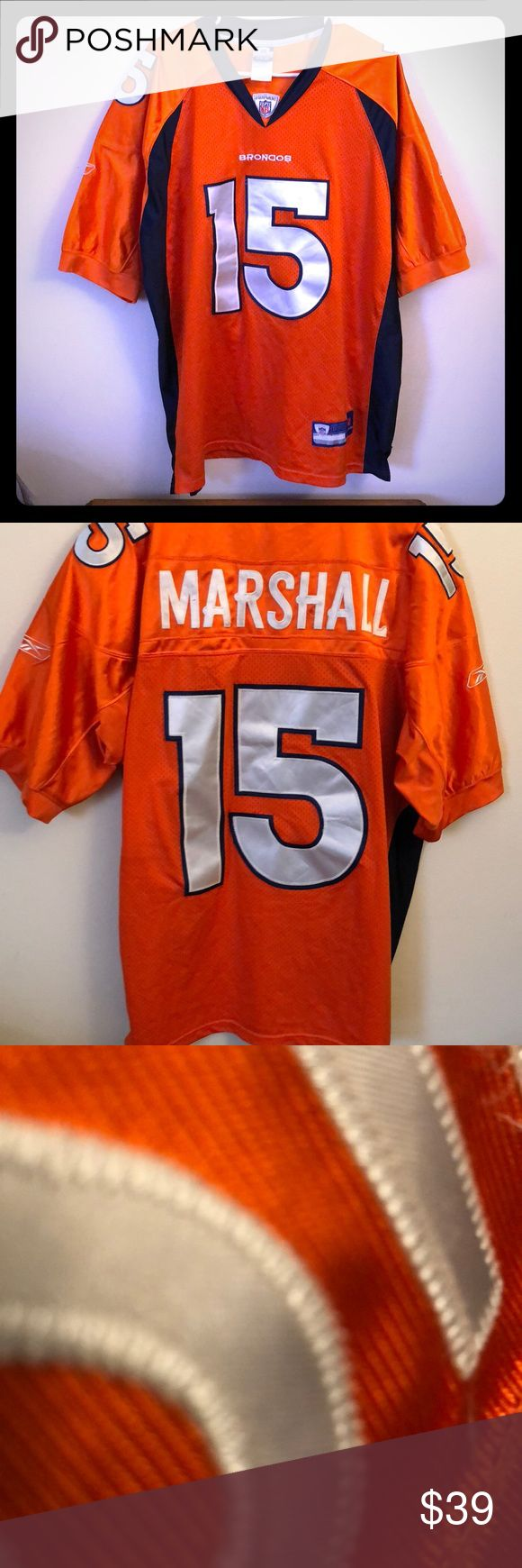 Denver broncos stitched jersey P for sale is an on field stitched brandon Marshall Denver broncos size xl(52). Support the broncos The team who originally drafted Marshall at a great price. Jersey has been worn 5 times and is in great condition. Other