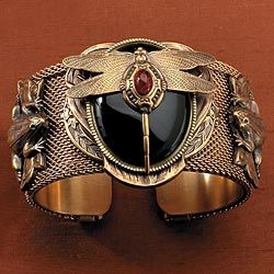 """""""Patrice Onyx and Amber Dragonfly Cuff Bracelet  - Art Deco."""""""