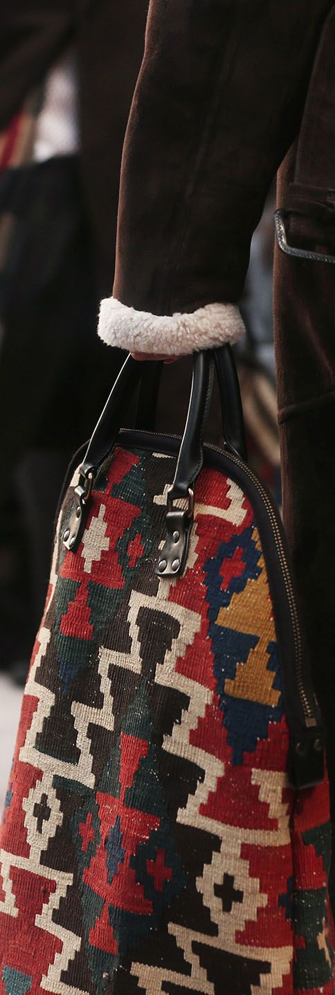 One of a kind - The St Ives bag in textured rug on the Burberry Menswear A/W14 runway