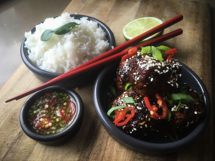 Sticky Asian fusion chicken meatballs with nam jim dipping sauce