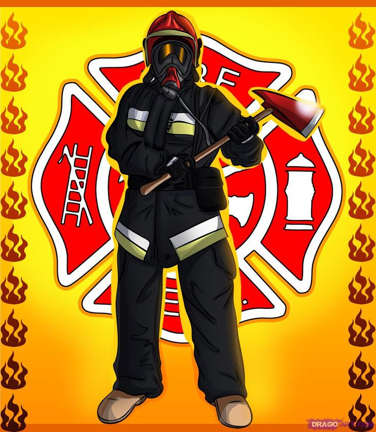 how to draw a fireman firefighter