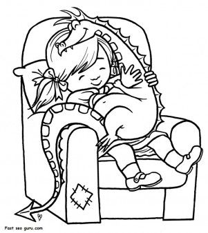 Print out girl playing with toy dragon coloring page - Printable Coloring Pages For Kids