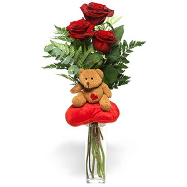 3 bellissime rose rosse confezionate assieme ad un grazioso orsacchiotto di peluche, per esprimere tutto il vostro amore e la dolcezza che volete comunicare. Le rose rosse sono il simbolo dell'amore e della passione per eccellenza, e l'accostamento ad un peluche richiama alla tenerezza di questo sentimento. Ottime da regalare in occasioni come gli anniversari o per completare una bellissima dichiarazione d'amore.