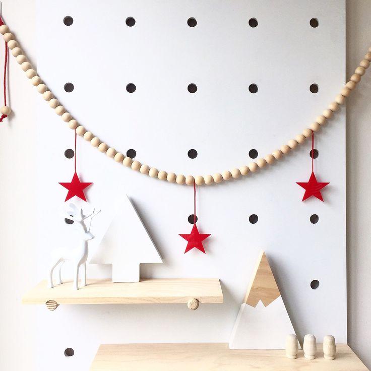Scandi Wooden Bead Christmas Star Garland