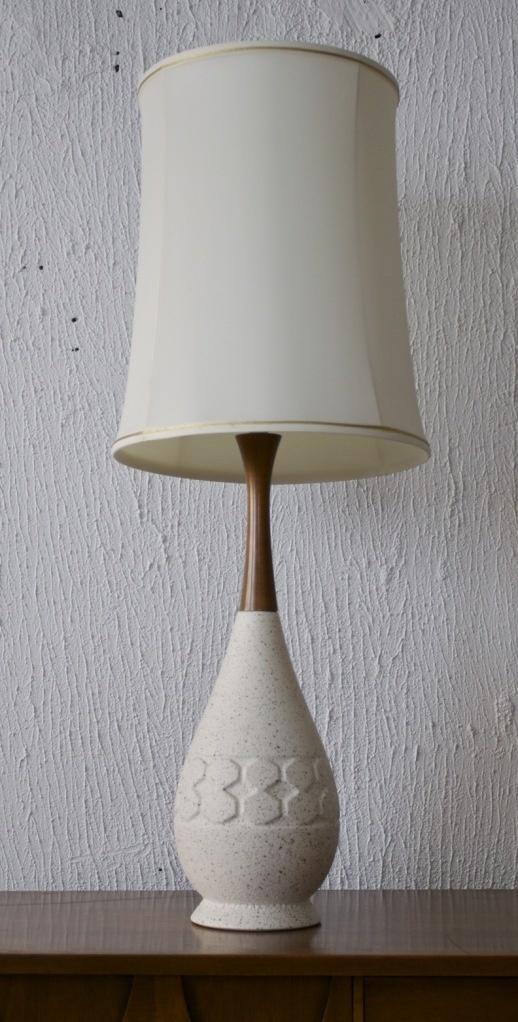 Mid Century Modern White Ceramic / Teak 3-way Lamp - $145