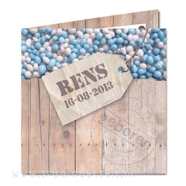 Studio Deksels - KAARTopMAAT - geboortekaartje - stijgerhout - blauwe muisjes - label - stoer