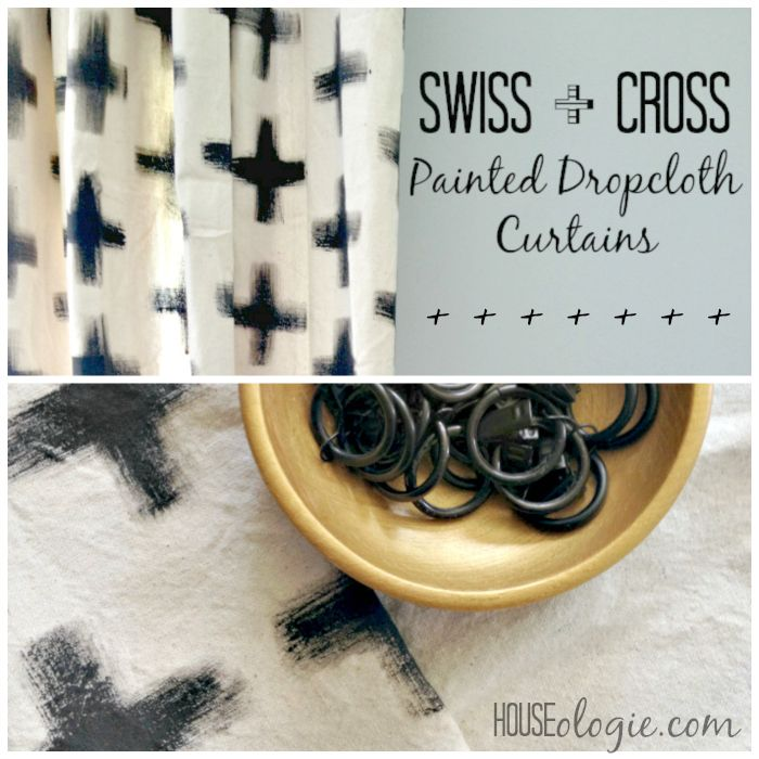 Simple DIY, HUGE impact! Swiss Cross painted Dropcloth Curtains #diy #paintedcurtains