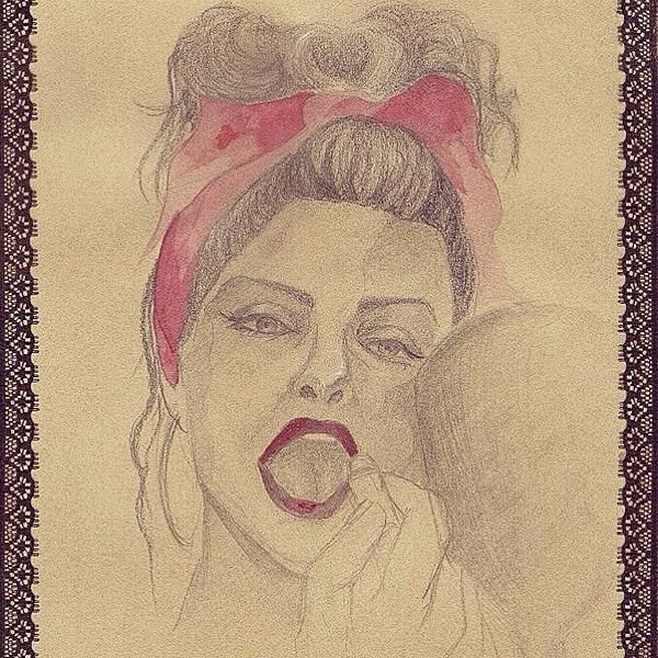 Pin-up -  pencil, white chalk, acrylic, and lace fabric on paper