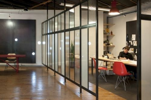 Check out the raised glass wall dividers. Love this!