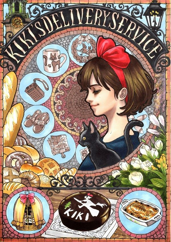 Kiki's Delivery Service by Japanese illustrator Marlboro - one of a gorgeous set of Ghibli Tribute pieces in the timeless graphic style of Alphonse Mucha. Ranging from Nausicaa to My Neighbor Totoro, each of the posters encapsulate the entire plot and important elements in a truly creative manner, using intricate framing elements in line with Mucha's layered style. Marlboro created these entirely without digital tools, using Copic markers and a felt-tip pen for the detailing.