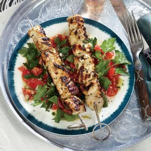 (Skip the oil for Phase 1) Big taste, minimal fuss: Lemony Chicken Kebabs with Tomato-Parsley Salad. Use 1 lb. chicken to serve 4.
