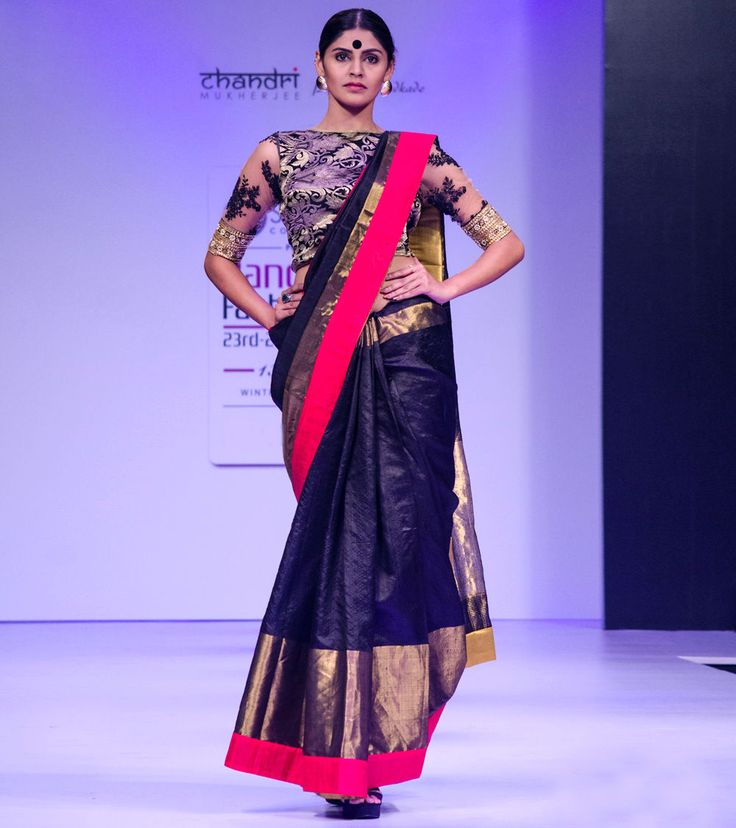 #Black, #Gold, #Red Pure #Dupion #Silk #Saree With #Blouse at #Indianroots