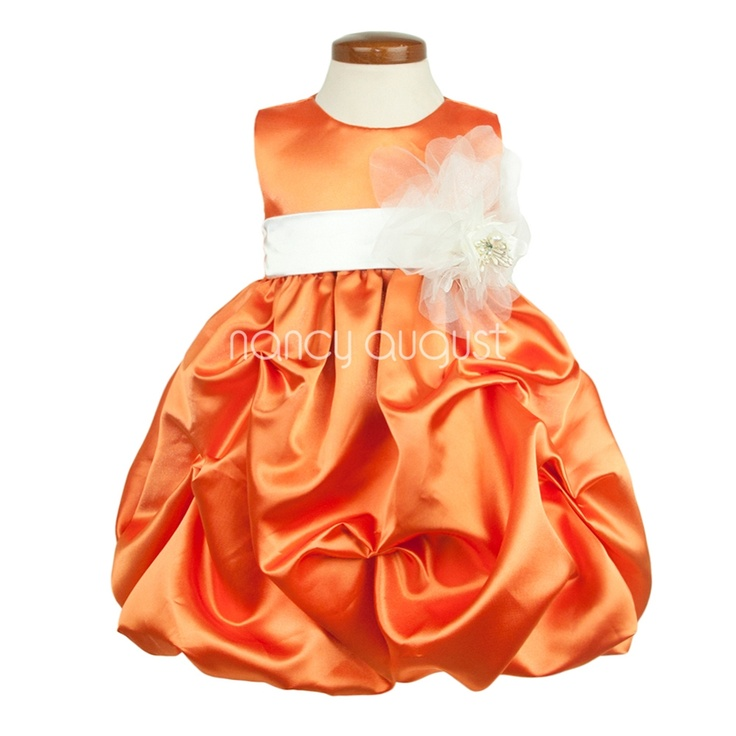 Orange Satin Baby Dress with Pickup Bubble Skirt: This orange satin pick-up baby dress is rich in style. This sensational shiny orange satin pick-up baby dress is made of poly satin that is soft to the touch. Simple and elegant with its removable sash waistband and modern pick-up bubble skirt with crinoline enhancement. Best of all you can pick your own customized sash color to match all your bridesmaid dresses! This orange dress is pictured with the ivory sash and flower option.: Bridesmaid Dresses, Satin Baby, Girl Dresses, Baby Girl, Baby Dresses, Bubble Skirt