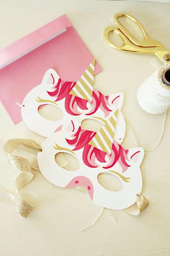 Unicorn Mask Invitation: Free Printable