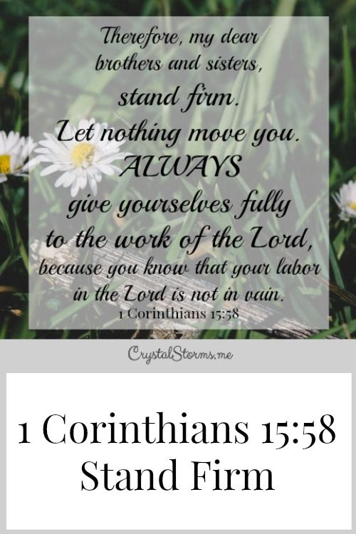 "Are you struggling to follow through? 1 Corinthians 15:58 gives words we can hold onto: ""Stand firm.  Let nothing move you.  ALWAYS give yourself fully to the work of the Lord."""