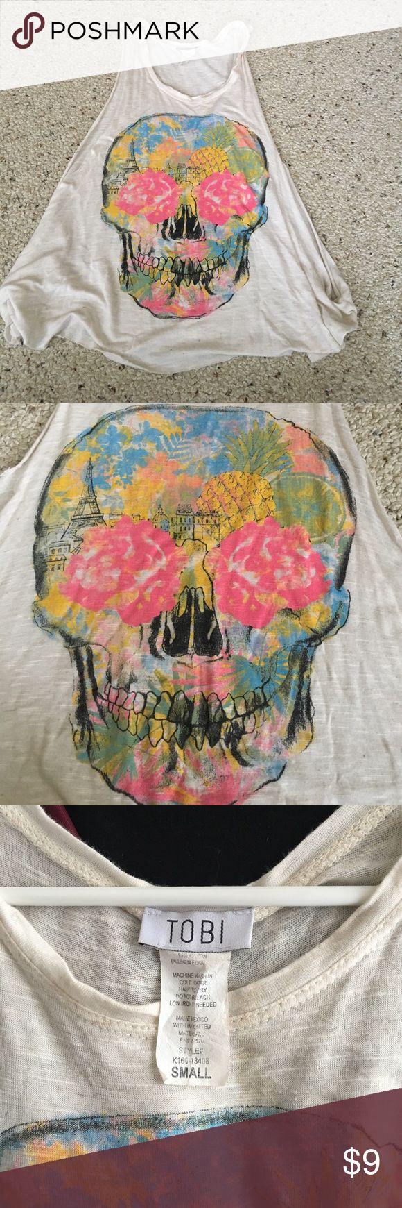 Tobi skull shirt Deep side cut tank top with colorful floral design Tobi Tops Tank Tops