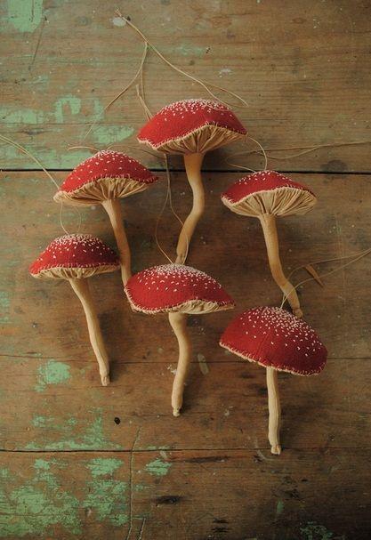 Red mushroom ornaments by Willwynn