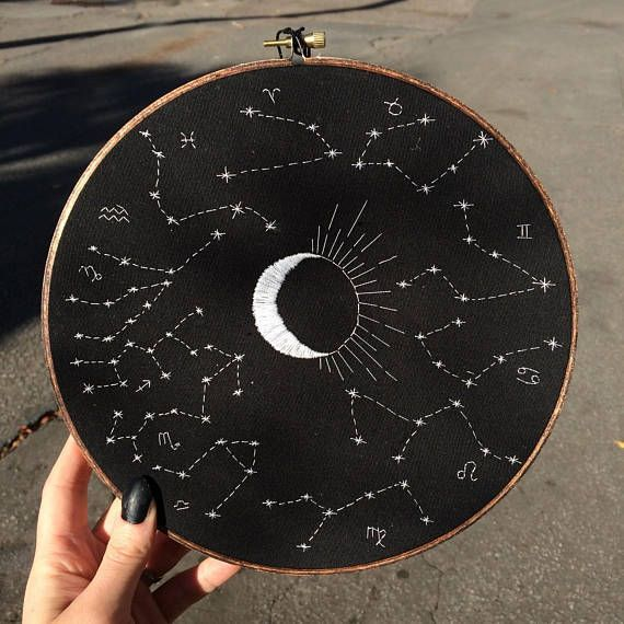 Zodiac Constellations Embroidery Hoop Decoration -…