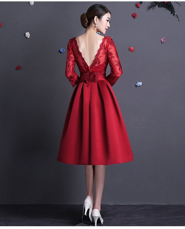 2015 New Elegant Boat Neck Sexy Backless Red Short Evening Dress With Long  Sleeves-in