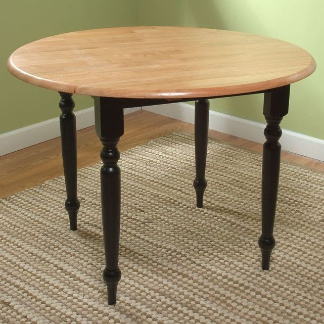 Round style Dual Drop Leaf Dining Table in Black and Natural Finish #Doesnotapply