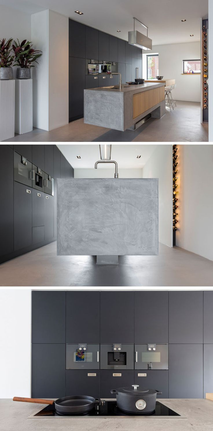 This kitchen palette is a combination of wood, steel and concrete, and it appears to float above the floor. A small area for wine storage is also included that features hidden lighting, essentially placing the wine on display.