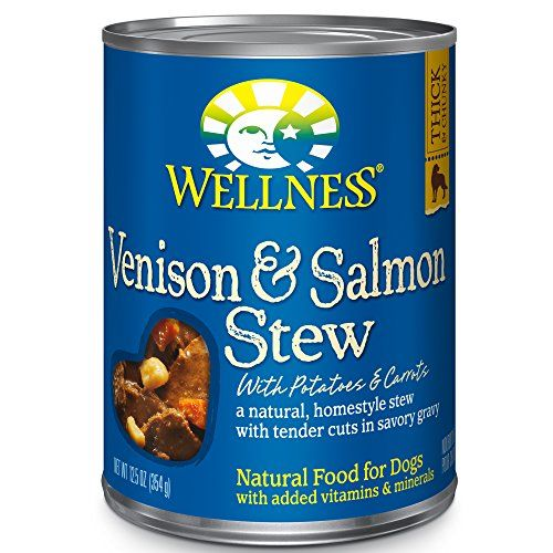 Wellness Thick & Chunky Natural Wet Canned Dog Food, Venison & Salmon Stew, 12.5-Ounce Can (Pack of 12) - Wellness Natural Grain Free Wet Canned Dog Food Venison and Salmon Stew with Potatoes and Carrots is a natural, grain-free dog food for adult dogs presented in a homestyle stew with tender cuts in savory gravy. It's an everyday entree that is a delicious and nutritious way to make more out of mea...