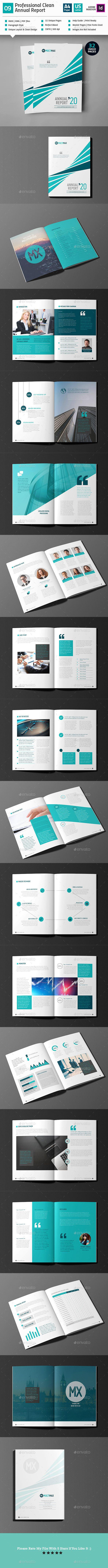 Clean Annual Report Template InDesign INDD