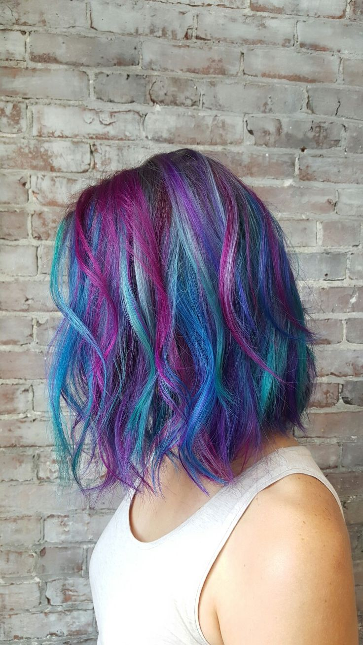 Mermaid hair! Teal pink blue purple hair Bob haircut cut and color by Maura D'arcy IG@MAURADARCY
