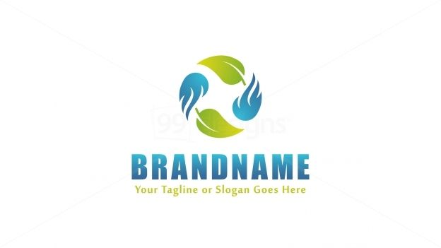 Logo design for sale only at http://99designs.com/logo-design/store/75725 Tags: #simple #blue #green #circle #nature #energy #leaf #Life #flame #ignite #air #space #cycle #negative #fire #fan #wind #ring #Heat #iconic #rotation #burn #concept #HVAC #theme #ventilation #blaze #conflagration #logo